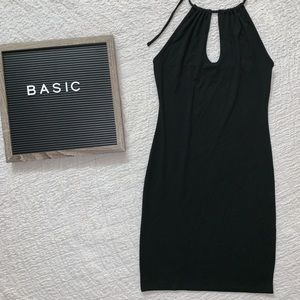 F21 Black Keyhole Halter Dress